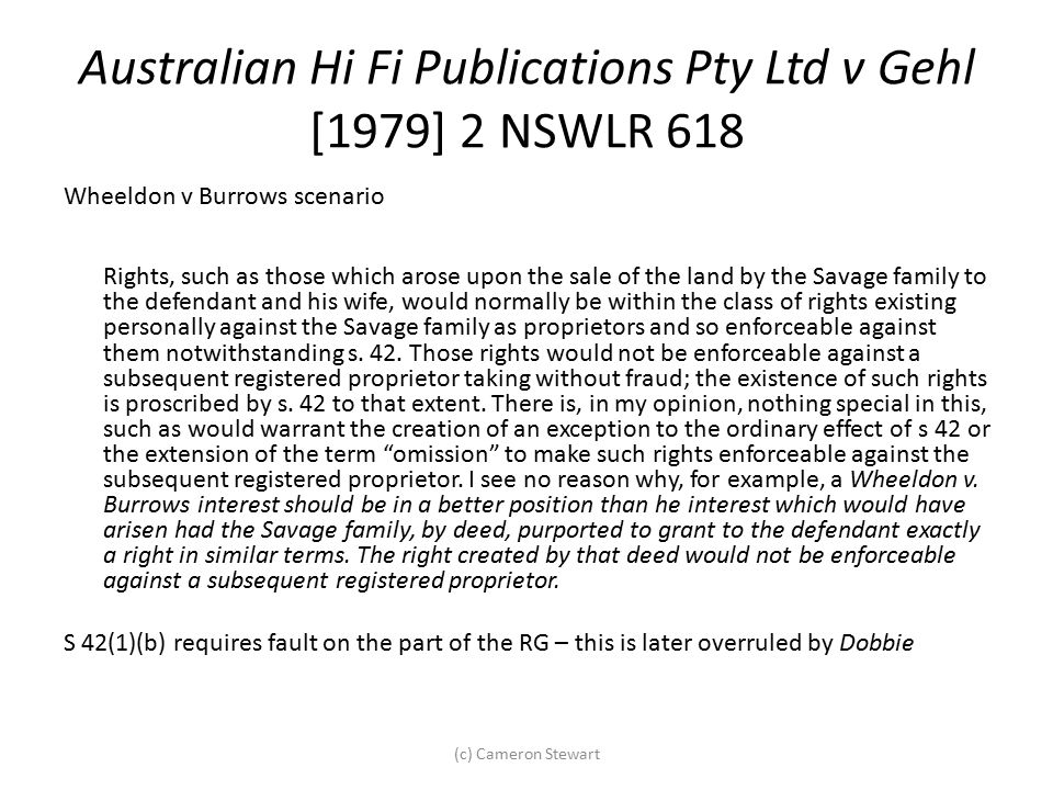 Australian Hi Fi Publications Pty Ltd v Gehl [1979] 2 NSWLR 618